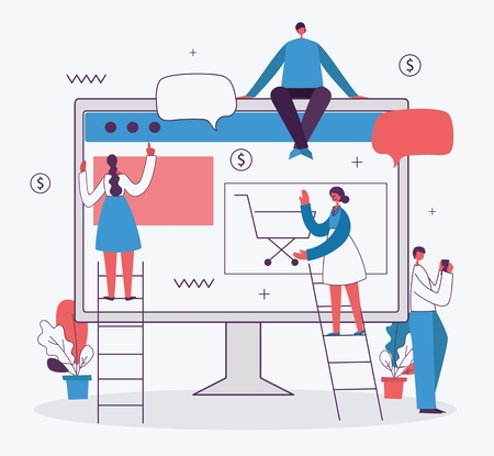 Vector illustration of business people in the flat style.