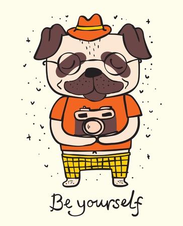 Vector illustration card of cute and funny Ilustração