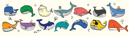 Vector illustration with cute doodle ocean whales in color