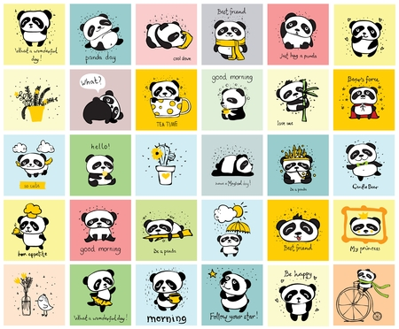 Big set of vector cards with cute pandas