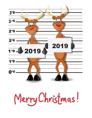 Christmas greeting card with cartoon deers of Santa Claus Stock Illustratie
