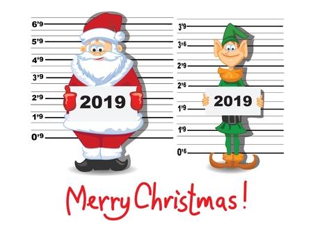 Christmas greeting card with cartoon Santa Claus Stock Illustratie