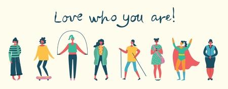 Aime ce que tu es. Illustration vectorielle du corps