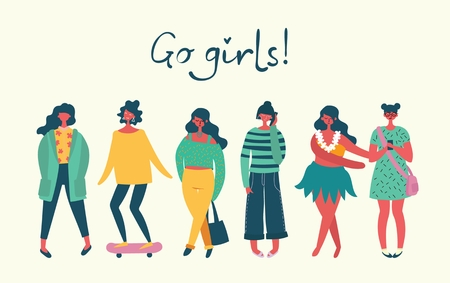 Go girls. Vector illustration
