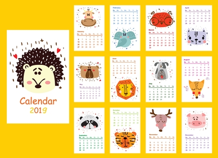 Calendar 2019. Cute animals for every month.