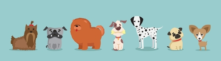 Set of cute and funny cartoon dog breeds