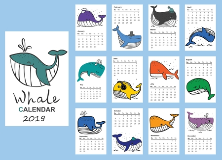 Calendar 2019 .Cute and funny whale for every month. 向量圖像