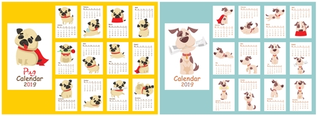Monthly creative calendar 2019 with different dog breeds Illustration