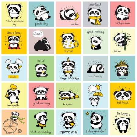 Big set of cards with cute pandas