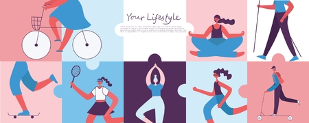 Vector illustration of a healthy lifestyle background.