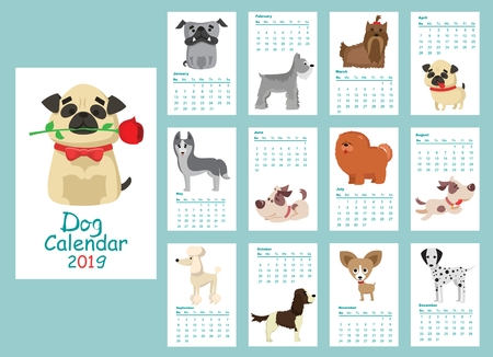 Monthly creative calendar 2019 with different dog breeds.