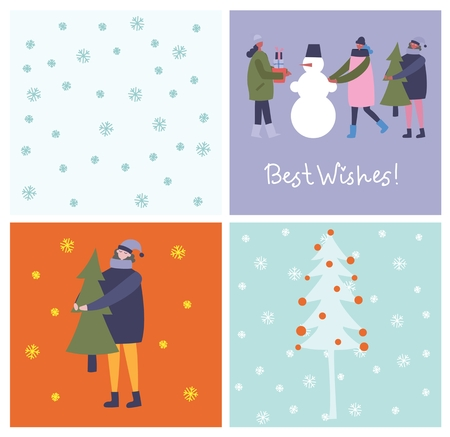 Vector illustrations in flat design of winter season
