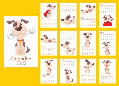 Monthly creative calendar 2019 with different dayly activities of dog. Illustration