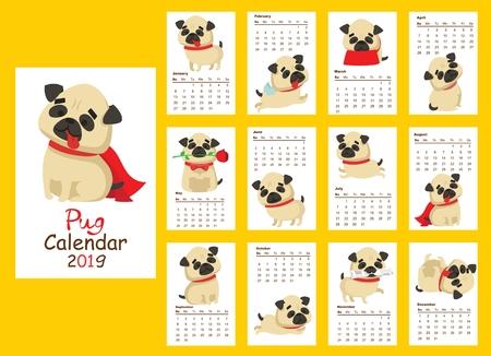 Monthly creative calendar 2019 with cute pug dog.