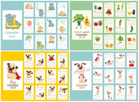 Set of calendars with dog, elephant and pig, fruit and vegetable characters.
