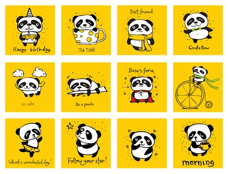 Set of vector cards with cute pandas