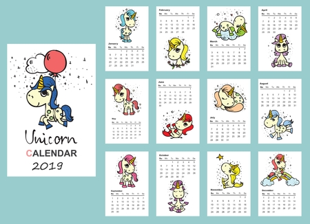 Calendar 2019 with cute unicorns. Funny unicorn for every month  イラスト・ベクター素材