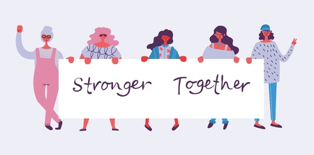 Stronger together. Feminine concept and woman empowerment design