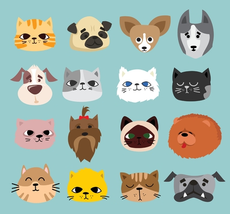 Vector illustration of cute and funny pet faces.