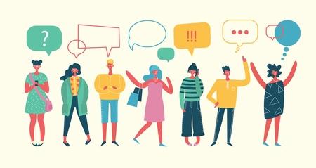 Ilustracja wektorowa, płaski, biznesmeni omawiają sieci społecznościowe