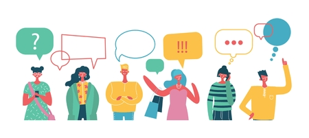 Illustration vectorielle, style plat, les hommes d'affaires discutent du réseau social