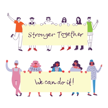 Stronger together. Feminine concept and woman