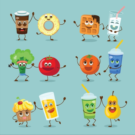 Funny happy breakfast food characters with emotions 向量圖像