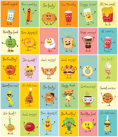 Set of cartoon cards with funny food characters