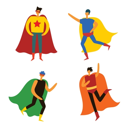 Vector illustrations in flat design of superheroes Illustration