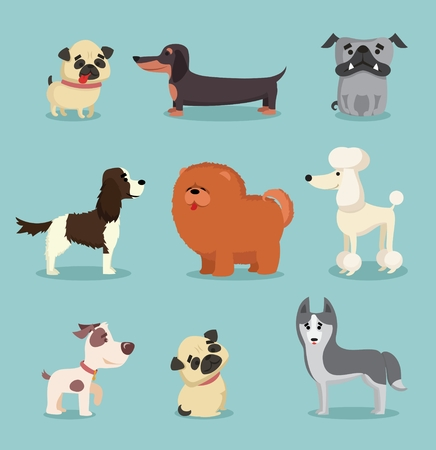 Vector illustration set of cute and funny cartoon breed of dog