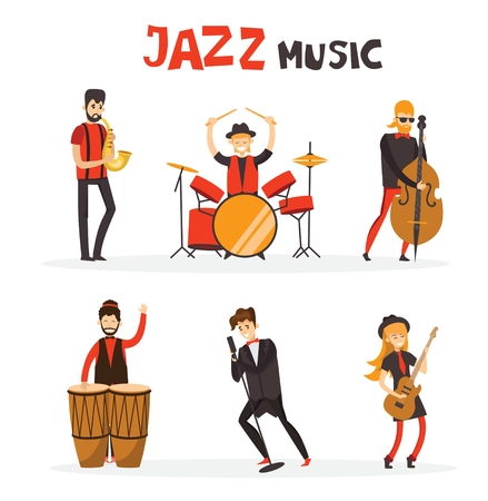 Vector illustration of jazz band in flat design