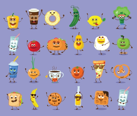 Funny food characters with emotions