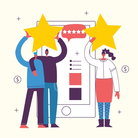 Vector illustration of the online review concept business people