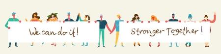 Ilustración de vector de hombres y mujeres felices sosteniendo pancartas