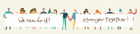 Vector illustration of happy men and women holding banners Vectores