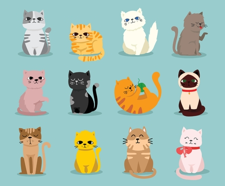 Cute vector illustration of cat breeds