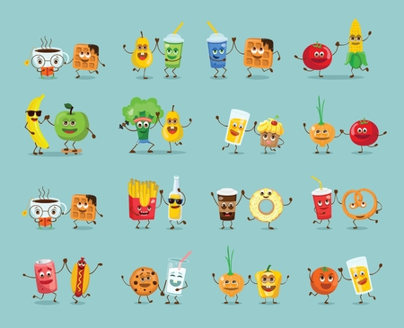 Funny best friends food cwith emotions Illustration