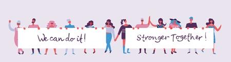Ilustración de vector de hombres y mujeres felices