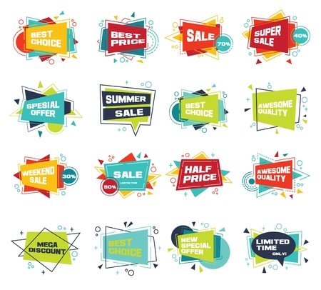 Set of abstract banners in flat style. Illustration