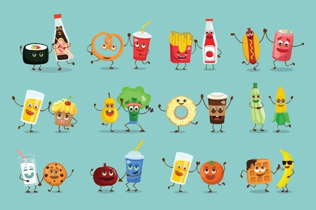 Vector color funny food emoji icons with emotions