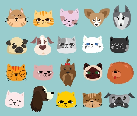 Vector illustration of a set of cute and funny cartoon pet heads faces.