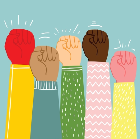 Multiracial fists hands up vector illustration.