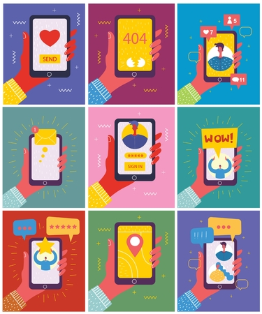 Set of illustrations of hand holding a smartphone Illustration
