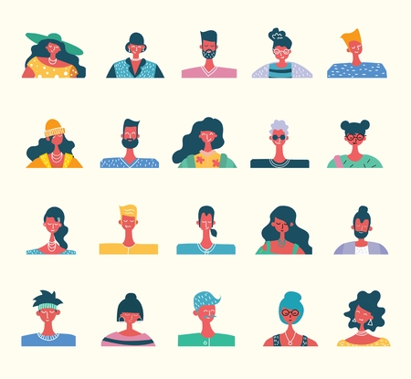 Vector flat people portraits. Smiling human icon.