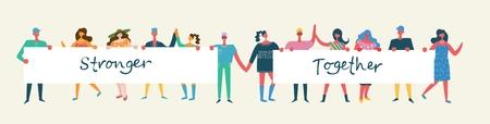 Vector illustration of activists men and women