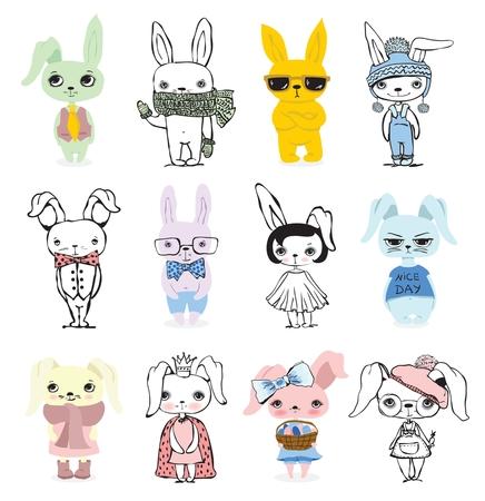 Cute rabbits doodle kid set.