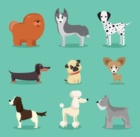 Vector illustration of a cute and funny cartoon breed of dogs