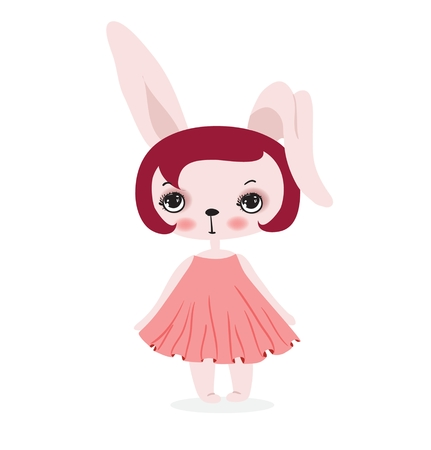Vector card with cute fashion rabbit