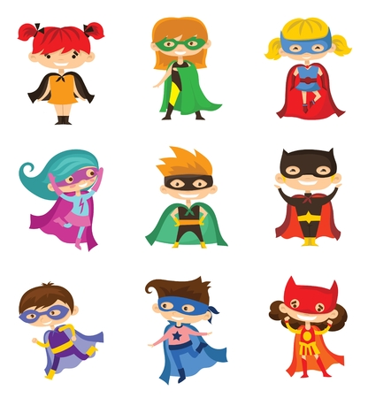 Cartoon vector characters of different superheroes Illustration