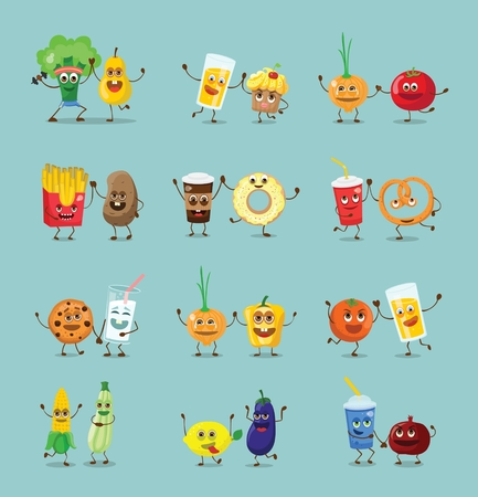 Funny best friends characters with emotions